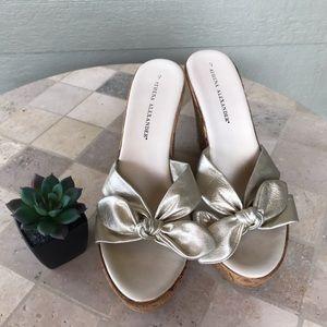 Athena Alexander Slip-On Cork Wedge Heels Sandals